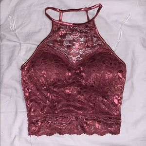 Tops - Rose Colored Lace Crop Top Size Small